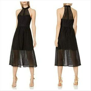 BCBG Generation Black Lace Midi Dress High Neck